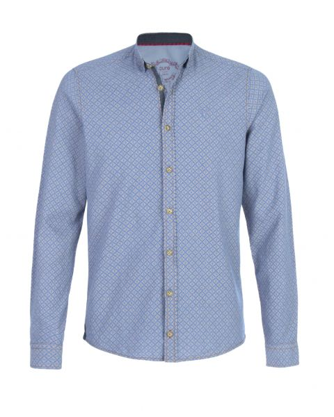 Hemd Thomas langarm, slim fit, blau/gold