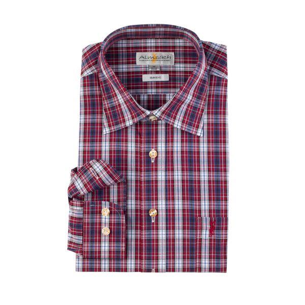 Almsach, Herren Hemd langarm, regular fit, wein/blau