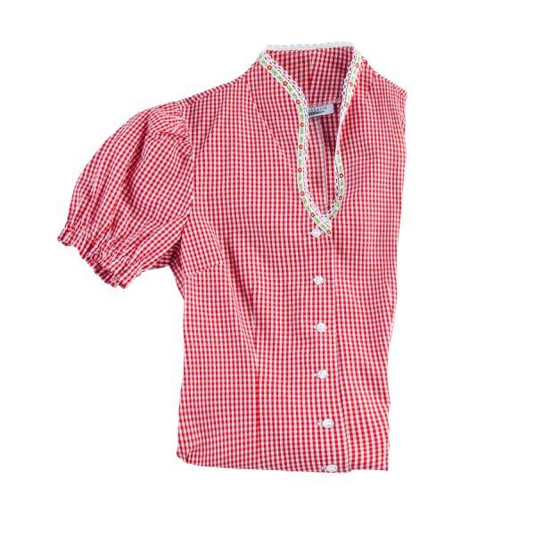 Damen Bluse kurzarm, rot