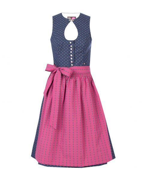 Dirndl Zaira 65cm, dunkelblau/pink