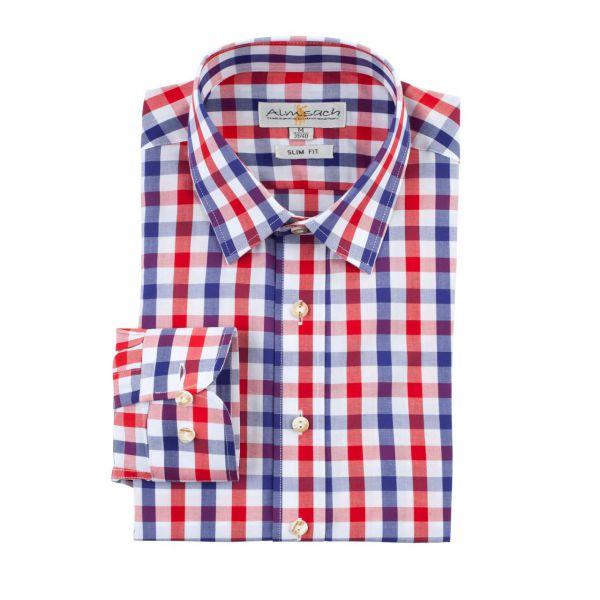 Almsach Herren Hemd langarm slim fit blau-rot Frontansicht
