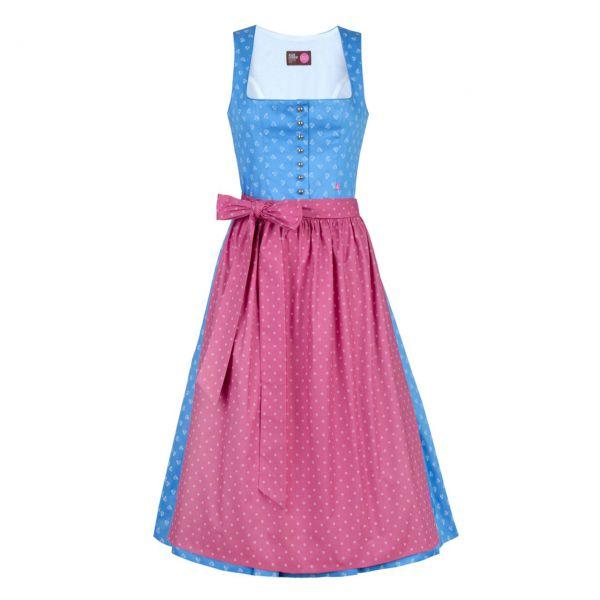 Almleben Damen Dirndl Carmen 80cm hellblau-weiß