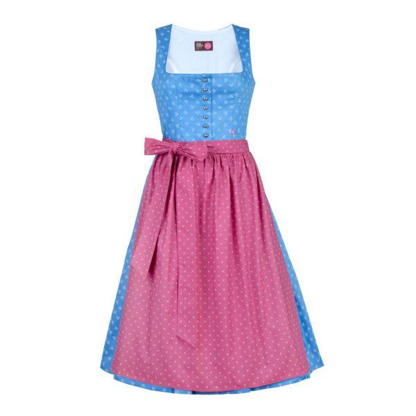 Almleben Damen Dirndl Carmen 70cm hellblau-weiß
