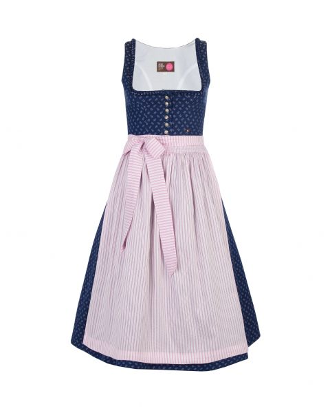 Dirndl Anette 70cm, dunkelblau/rosa