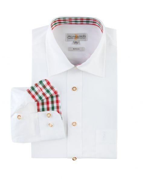 Hemd langarm, regular fit, weiß/rot/tanne