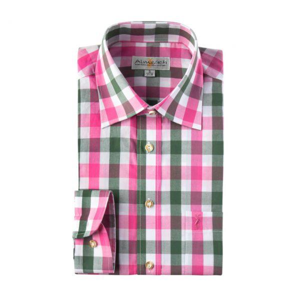 Almsach, Herren Hemd langarm, slim fit, pink-tanne Frontansicht