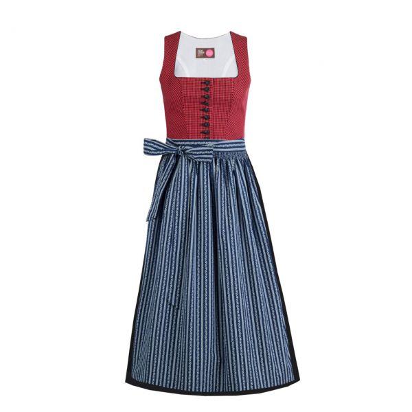 Almleben Damen Pinzgauer Dirndl 90cm rot-blau