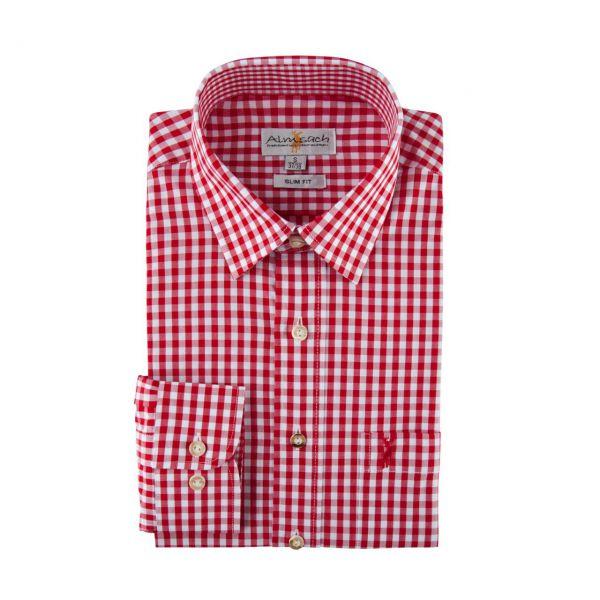 Almsach, Herren Hemd langarm, slim fit, rot Frontansicht