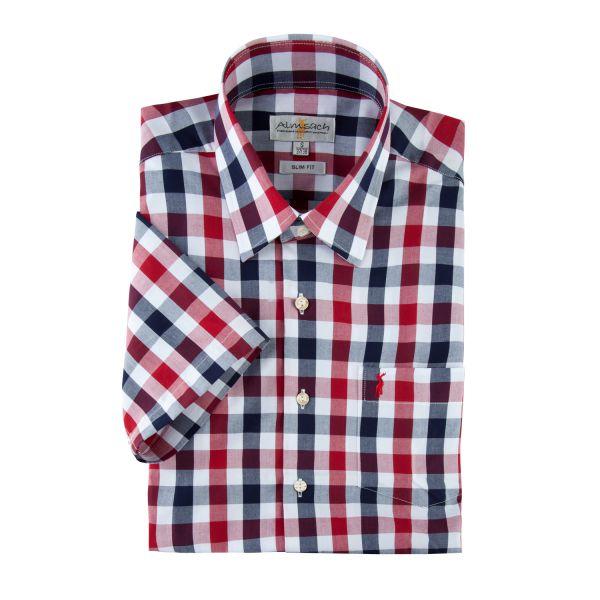 Hemd kurzarm, slim fit, navy/red