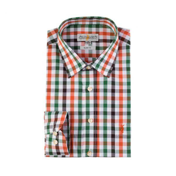 Almsach, Herren Hemd langarm, slim fit, orange-tanne Frontansicht