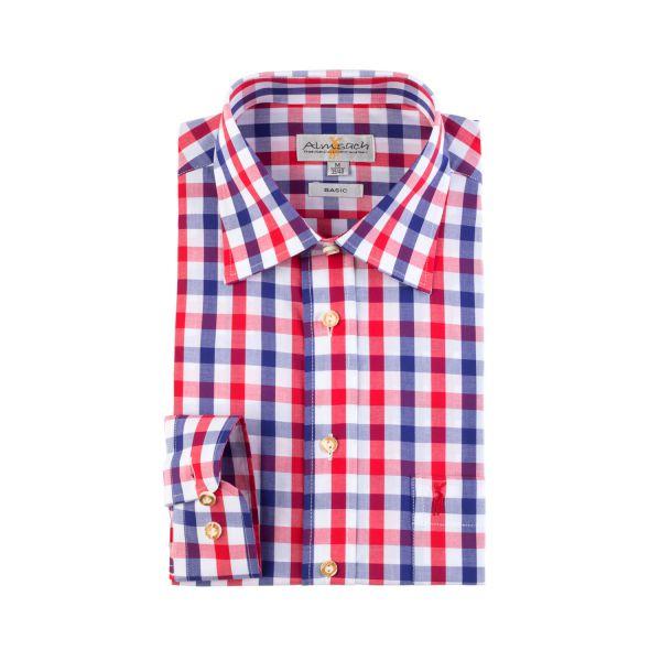 Almsach, Herren Hemd langarm, blau/rot