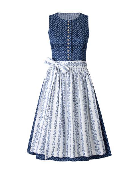 Damen Dirndl 60cm, blau/weiß