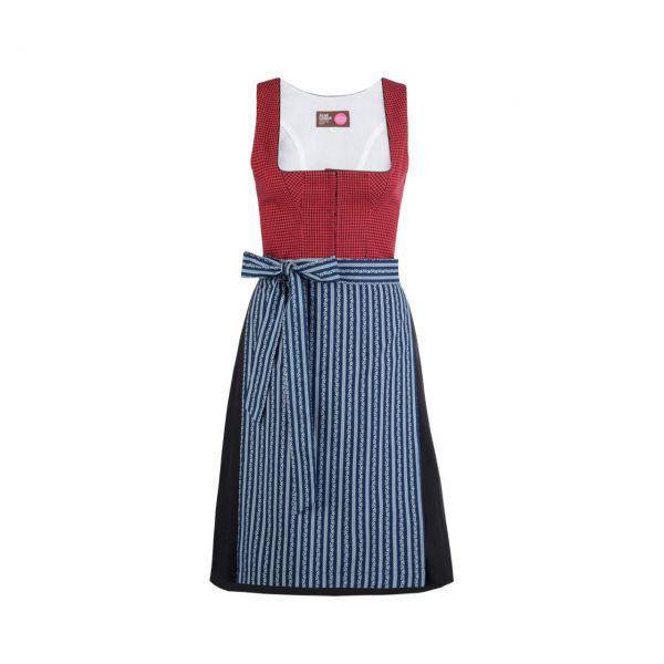 Almleben Damen Pinzgauer Dirndl 60cm rot-blau