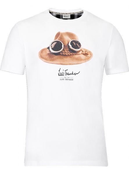 Luis Trenker, Herren T-Shirt kurzarm Hut, weiss