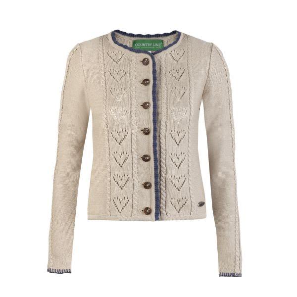 Damen Strick Jacke, beige/blau