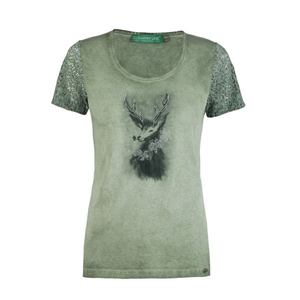 Country Line, Damen T-Shirt, olive