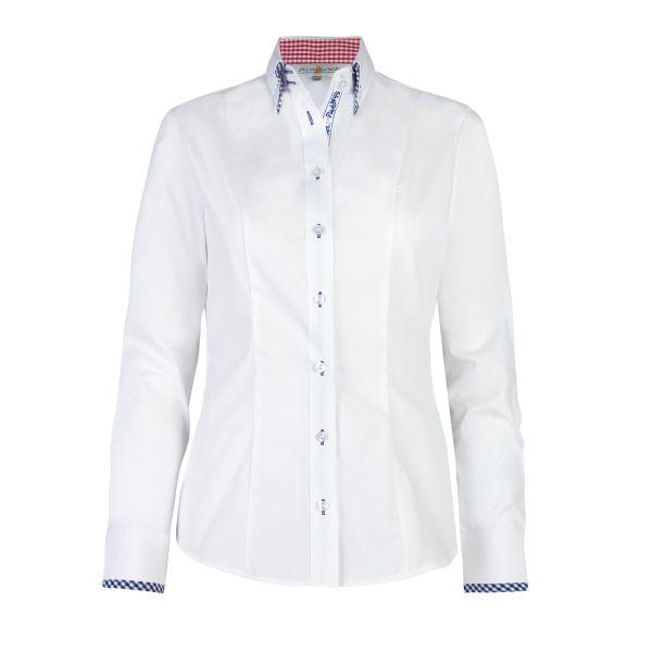 Almsach, Damen Trachten Bluse Lauri langarm, weiß/blau