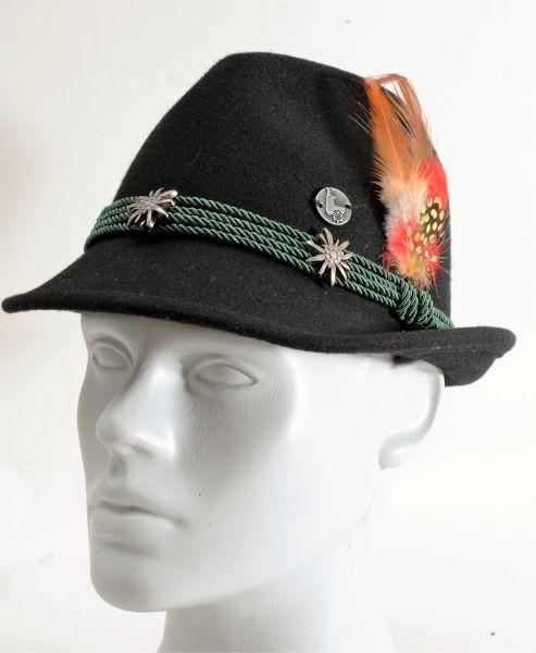 Damen Trachtenhut Edelweiß, schwarz