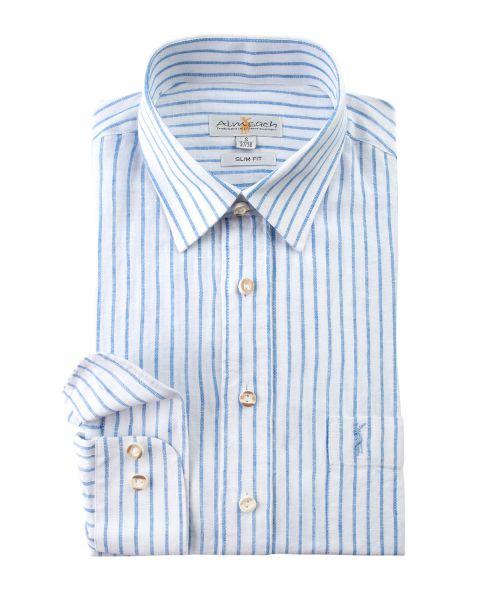 Hemd langarm, slim fit, weiß/blau