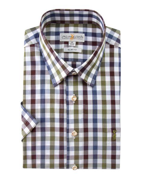 Hemd kurzarm, slim fit, olive/braun