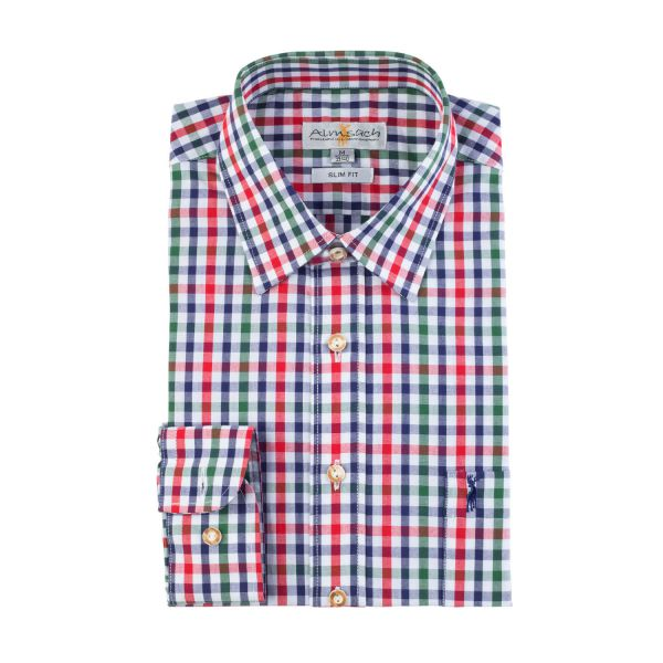 Almsach, Herren Hemd langarm, regular fit, rot/tanne