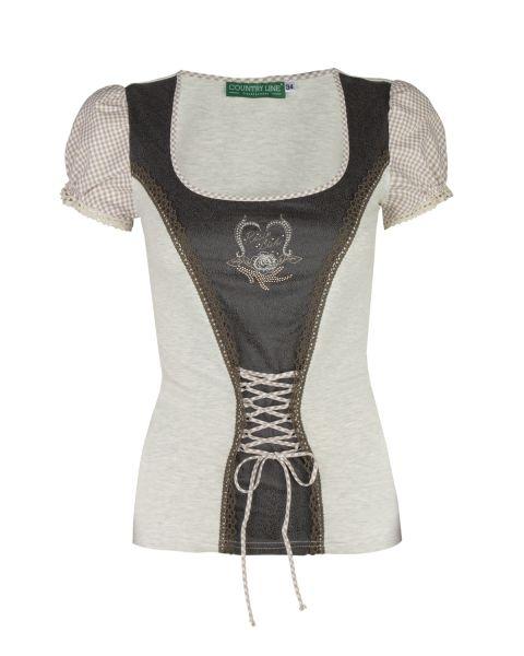 Damen T-Shirt, natur/braun