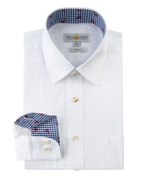 Hemd langarm, regular fit, weiß/blau