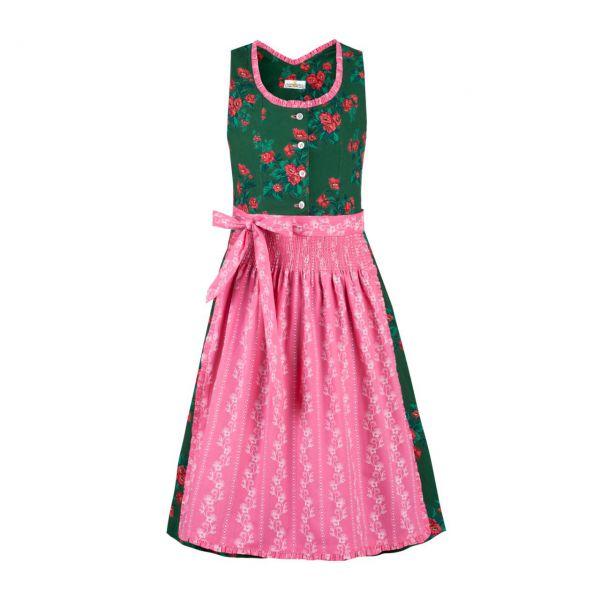 Almsach Kinder Dirndl grün-rosa Frontansicht